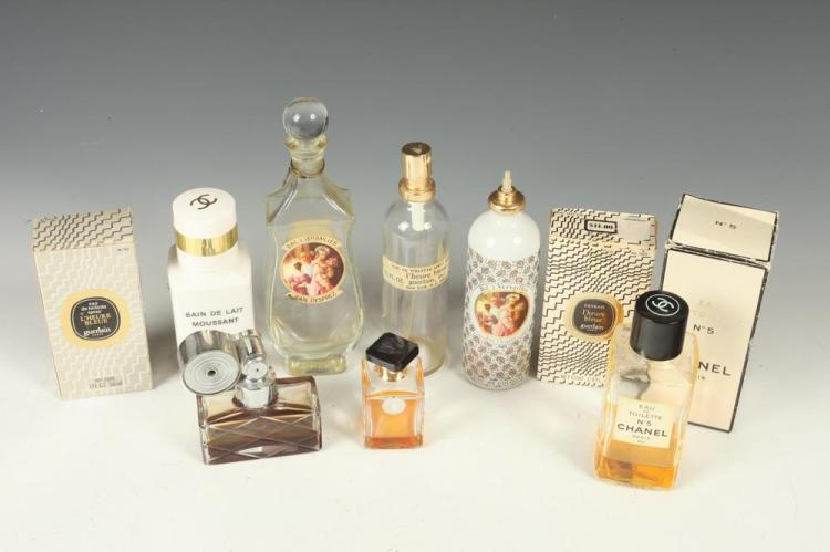 CHANEL (NO.5); GUERLAIN (HEURE BLEUE); BAL DE VERSAILLES AND OTHER VINTAGE PERFUME BOTTLES.