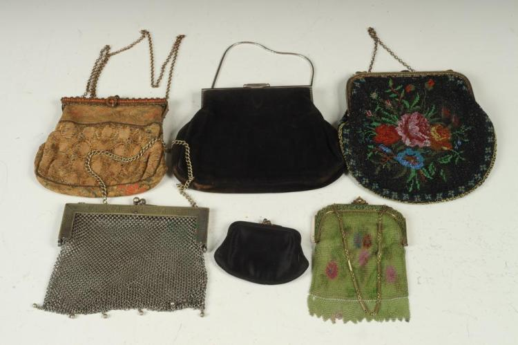 VINTAGE PURSES, ONE BLACK SUEDE, ONE BLACK SATIN, ONE SILVER-TONE MESH, ONE GOLD HAND-SEWN, ONE LIME GREEN MESH.