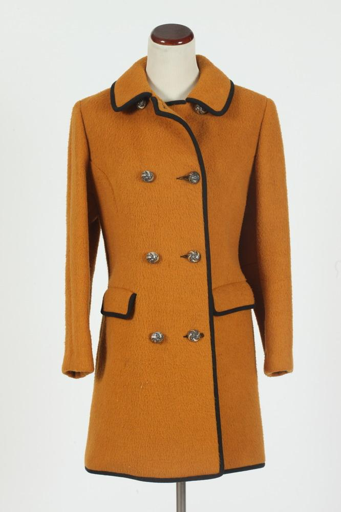 VINTAGE LORD & TAYLOR BURNT ORANGE WOOL JACKET WITH BLACK TRIM, Made in Austria, size 40.