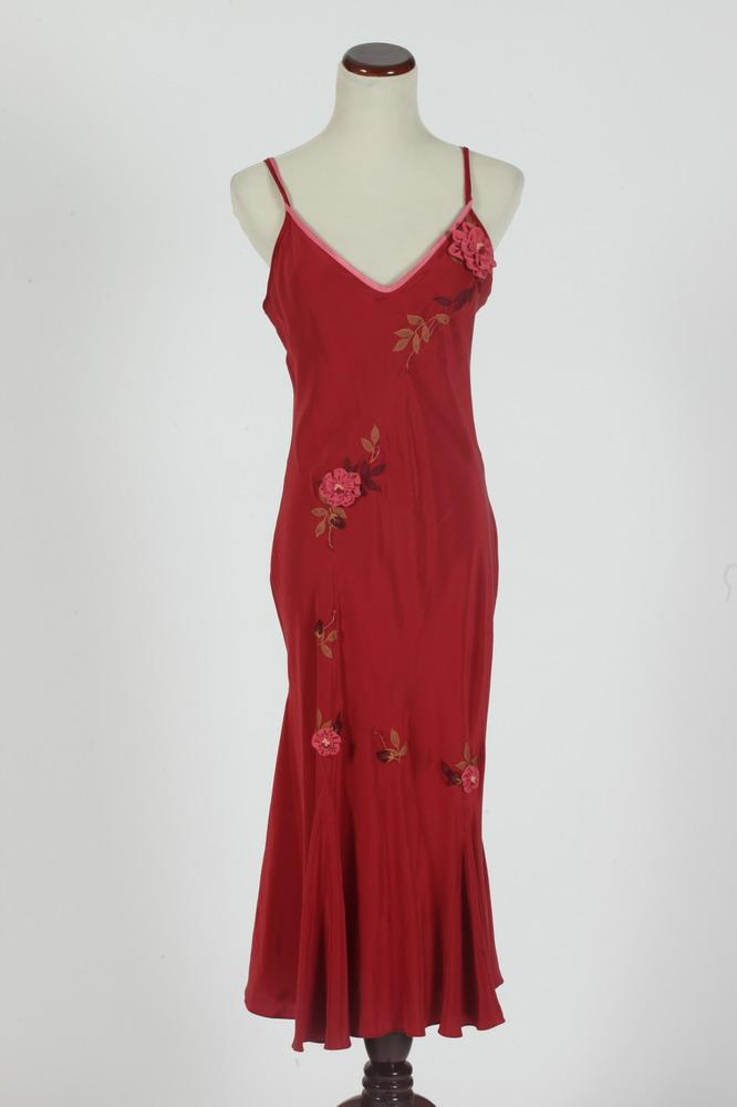 BETSY JOHNSON RASPBERRY SILK DRESS WITH SPAGHETTI STRAPS. size 10.