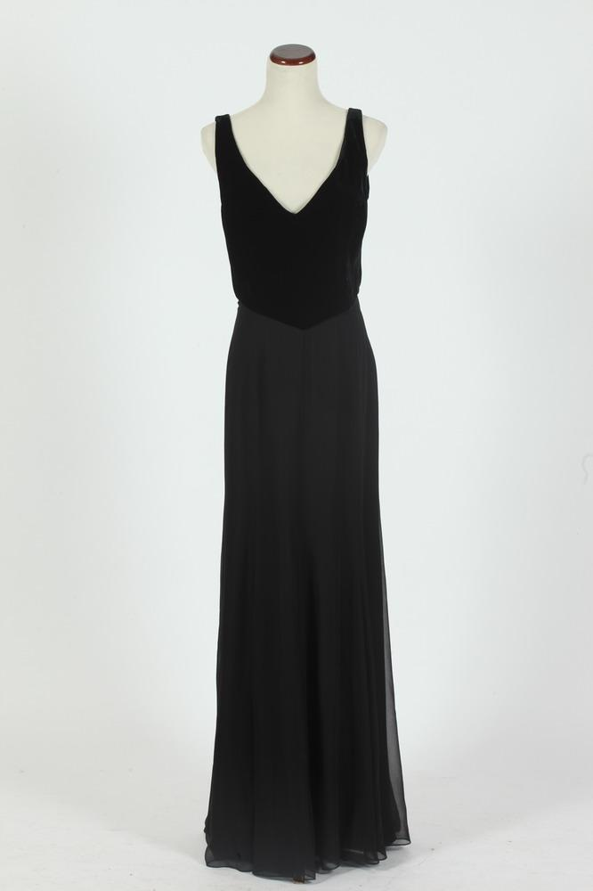 RALPH LAUREN BLACK LABEL SLEEVELESS VELVET EVENING GOWN WITH BLACK VELVET BODICE AND SILK CHIFFON SKIRT, size 6.