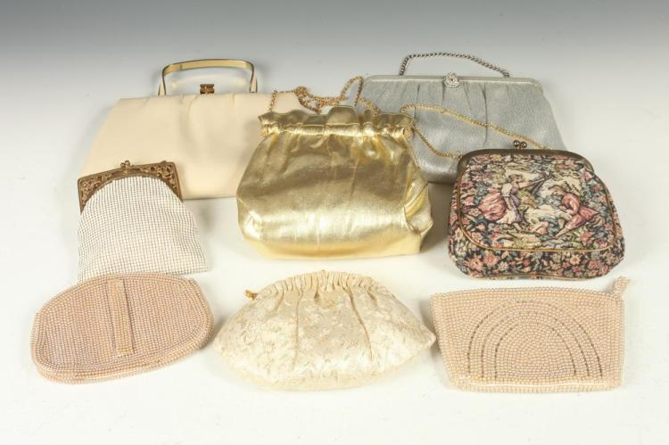 VINTAGE PURSES: NEEDLEPONT, BEADED, SATIN, AND LEATHER.