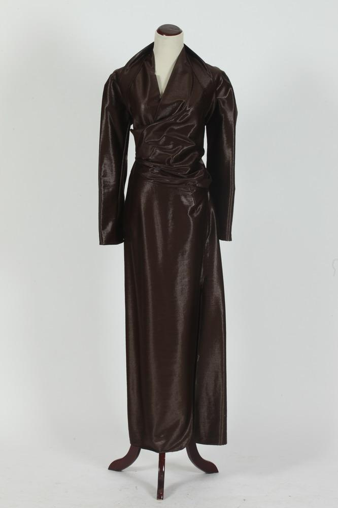 JIL SANDER CLARK METALLIC WOOL/NYLON LONG DRESS.
