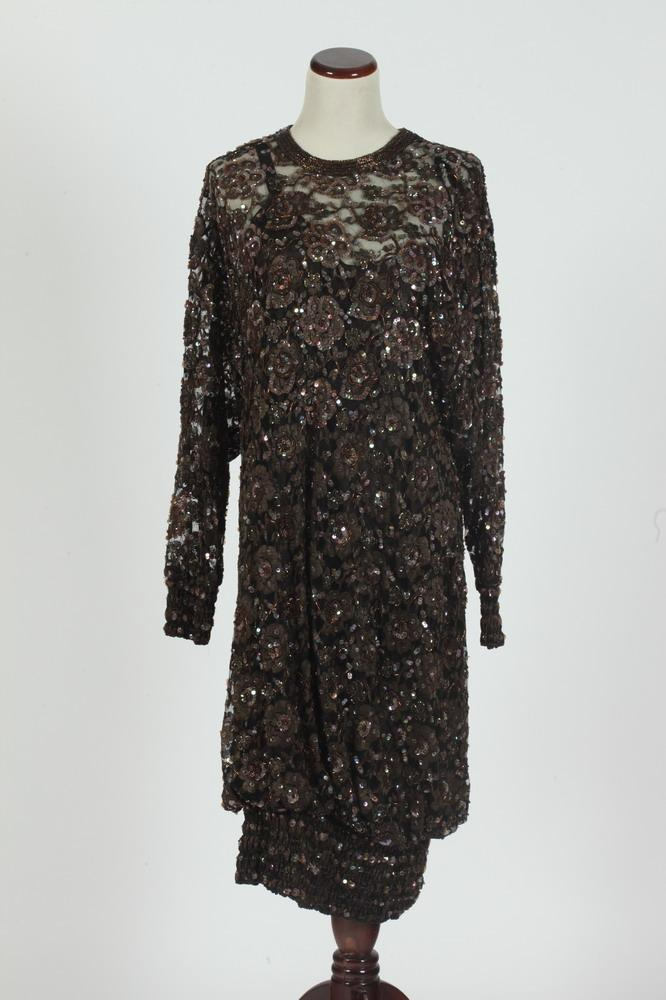 JUDITH ANN CREATIONS SEQUINED COCKTAIL DRESS.