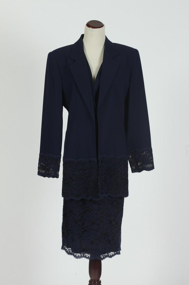 NOLAN MILLER NAVY BLUE SUIT WITH LACE SKIRT. size small/medium.