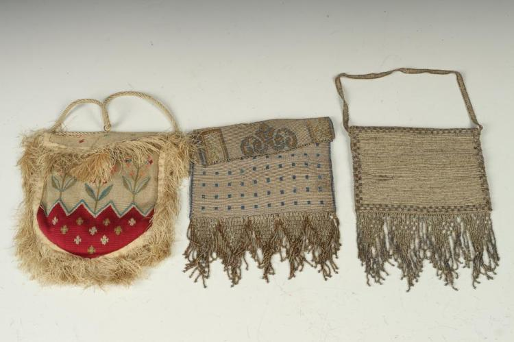 ANTIQUE EMBROIDERED PURSE WITH FRINGE AND TWO VINTAGE BEADED HANDBAGS.