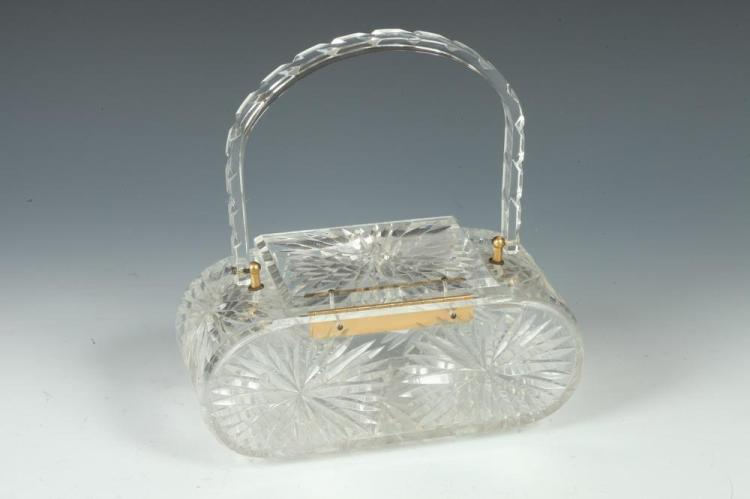 VINTAGE LUCITE PURSE WITH GOLD-TONE HARDWARE.