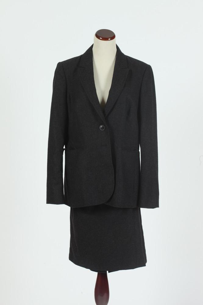 JIGSAW CHARCOAL GREY CASHMERE JACKET AND MATCHING SKIRT, jacket size 12, skirt size 10.