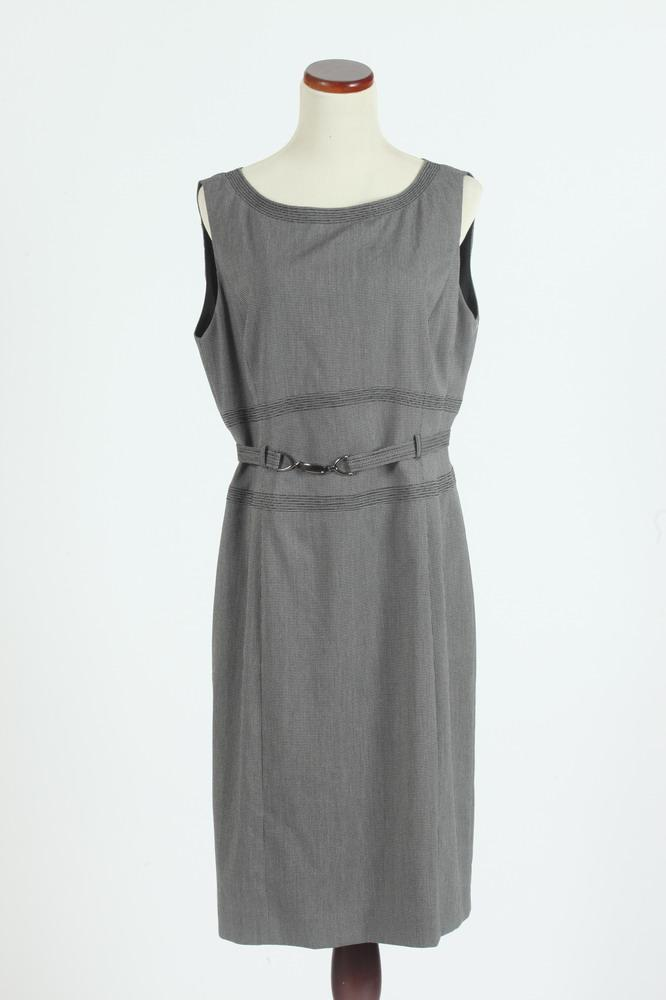 TAHARI GREY SLEEVELESS DRESS WITH MATCHING BELT, size 12.