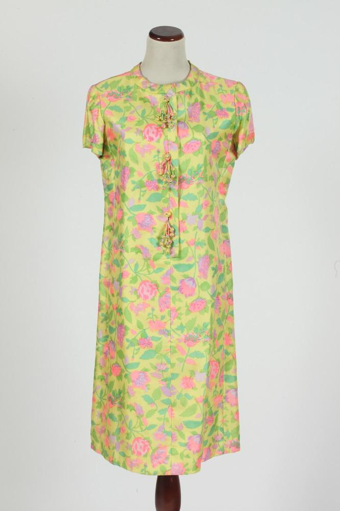 VINTAGE JULIA NOYES YELLOW, GREEN AND PINK SILK DRESS AND BLACK AND GOLD POLYESTER DRESS. size small.