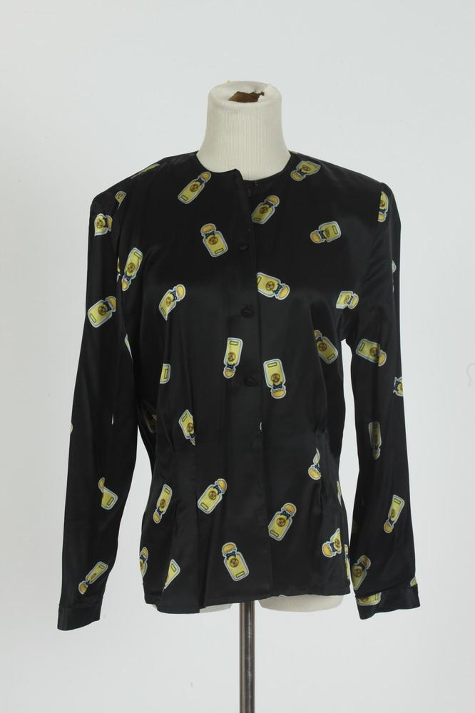 VINTAGE BLACK STARINGTON SILK BLOUSE WITH PERFUME BOTTLE MOTIF, 100 % silk , size 8.