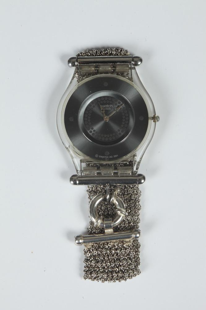 SWATCH STERLING SILVER MESH BRACELET WATCH WITH NEW BATTERY.