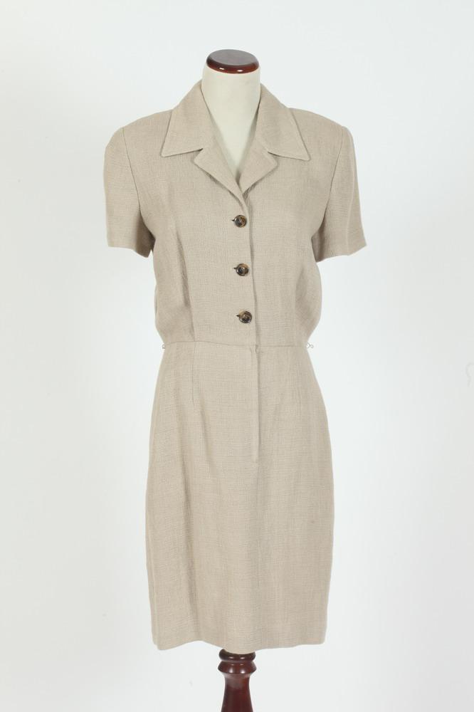 VINTAGE BEIGE LINEN DRESSES, size small.