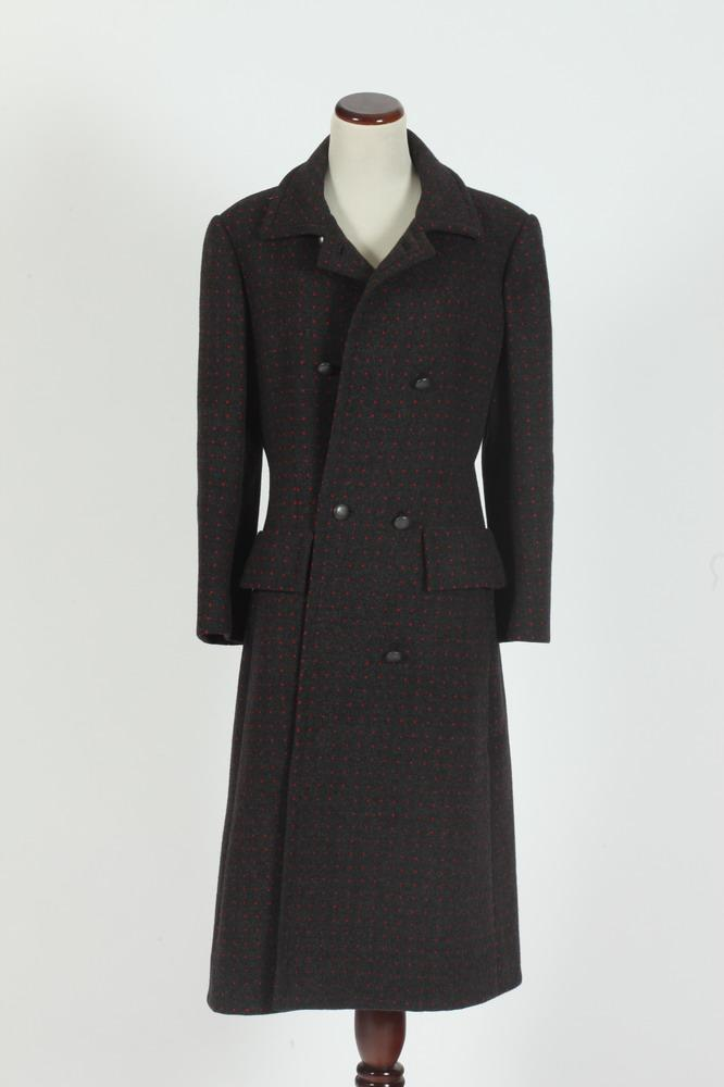 GIVENCHY NOUVELLE BOUTIQUE GREY WOOL COAT WITH RED POLKA DOTS FROM NEIMAN MARCUS, size 42.