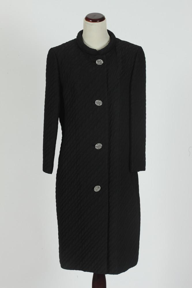 VINTAGE 1950'S BLACK WOOL COAT WITH FOUR RHINESTONE BUTTONS AND BLACK WOOL CAPE, size small/medium.