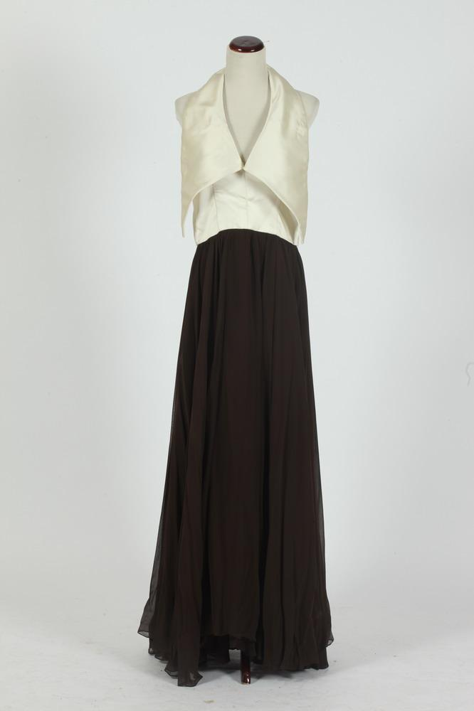 VINTAGE ESPRESSO BROWN SILK CHIFFON GOWN WITH IVORY SATIN HALTER TOP.