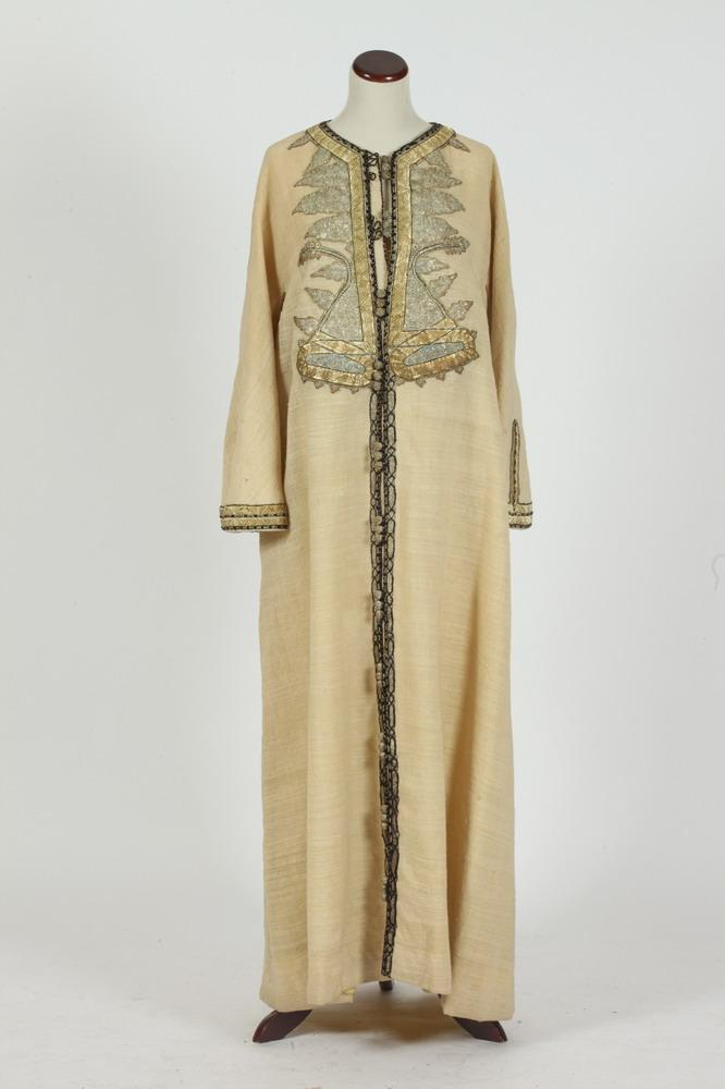 VINTAGE BEIGE WOOL KAFTAN WITH BLACK AND GOLD-TONE BRAIDED TRIM.