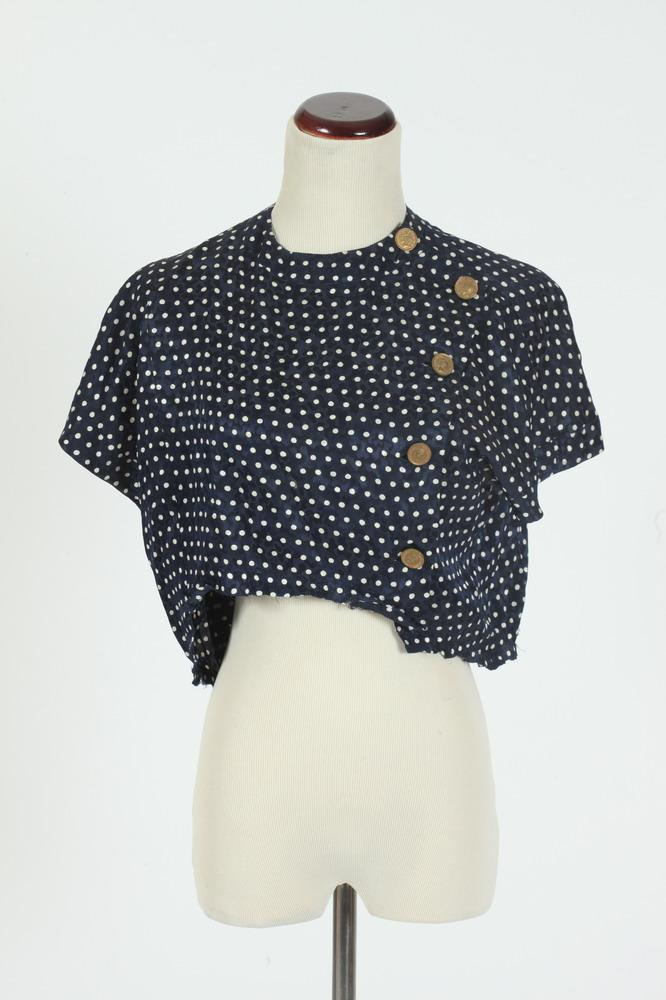 VINTAGE CHANEL DETACHED NAVY BLUE SILK BLOUSE WITH WHITE POLKA DOTS AND
