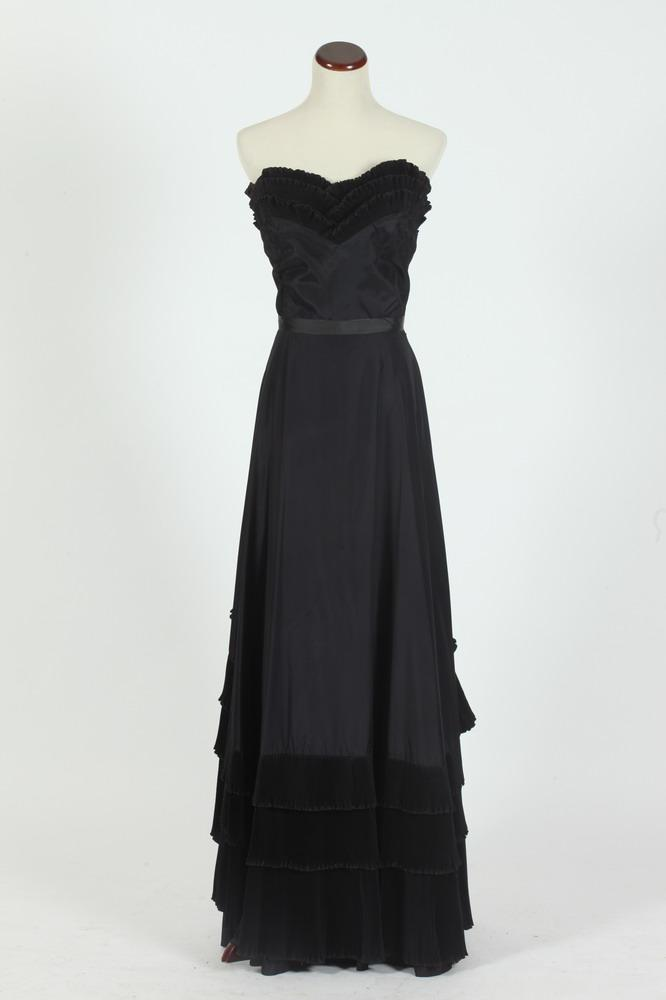 VINTAGE 1950'S AL SCHNYDER ORIGINAL BLACK SILK TAFFETA GOWN WITH RUFFLE DETAIL, size small.