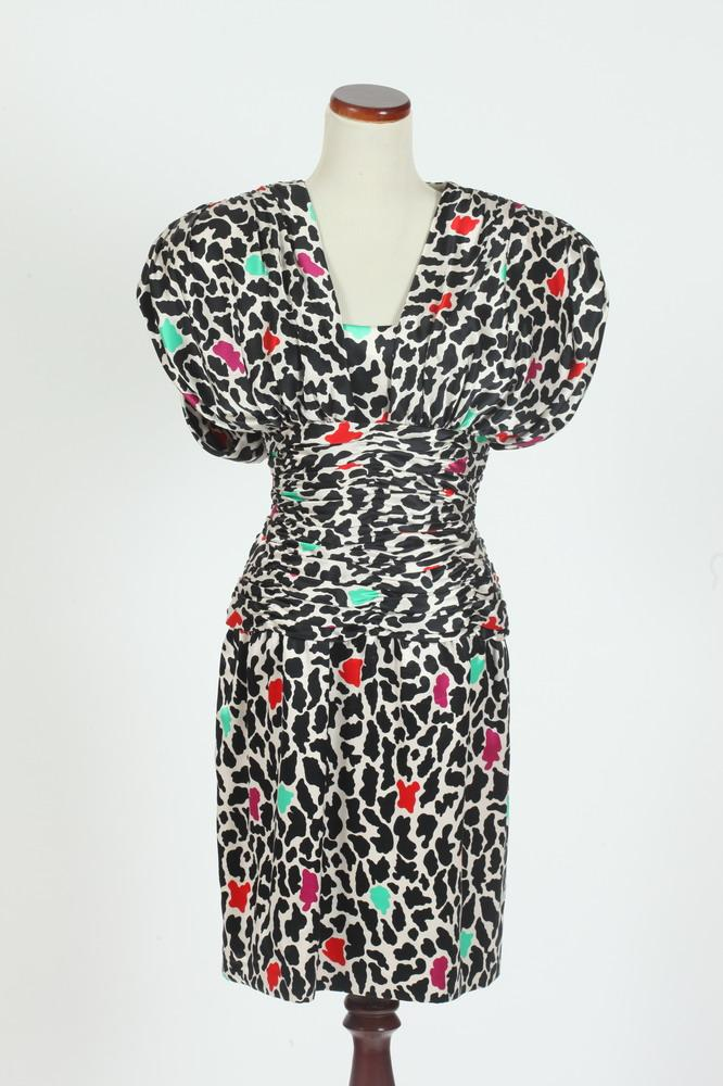 VINTAGE 1980'S MARY JANE DENSER SILK DRESS WITH BLACK AND WHITE ANIMAL PRINT WITH RED, FUSCHIA AND TEAL DETAIL, size small.