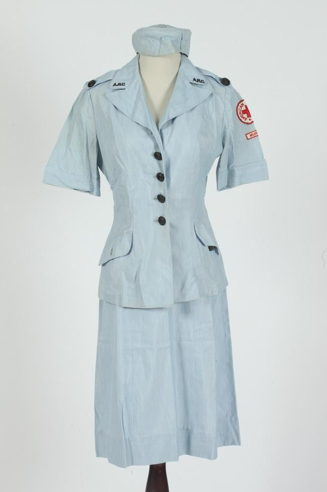 VINTAGE RED CROSS PALE BLUE SKIRT AND MATCHING BLOUSE AND HAT, size small.