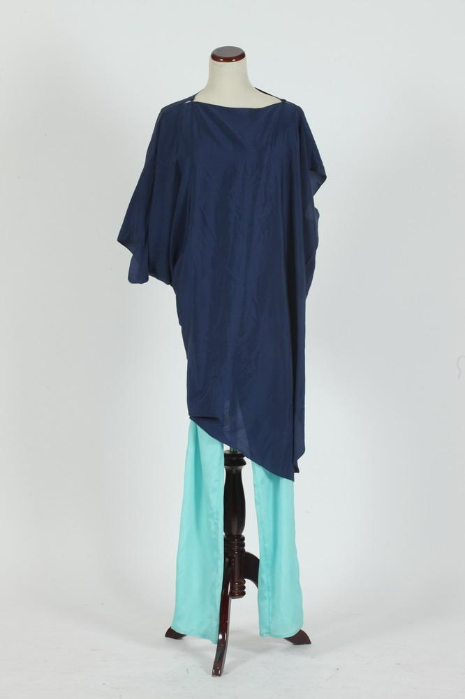 ADOLFO BLUE SILK ENSEMBLE, size medium.