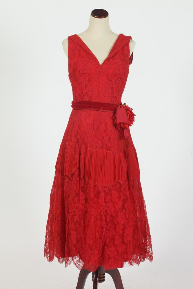 VINTAGE RED LACE DRESS WITH RED SILK SASH, size small.