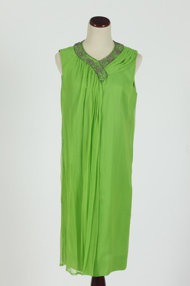 VINTAGE 1960'S SILK CHIFFON DRESS WITH BEADED DETAIL, size small.