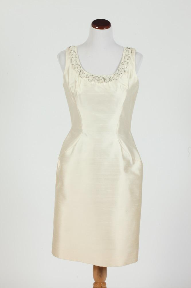 VINTAGE IVORY TWO-PIECE SILK DRESS WITH BEADED DETAIL AND MATCHING JACKET, size 12/14.