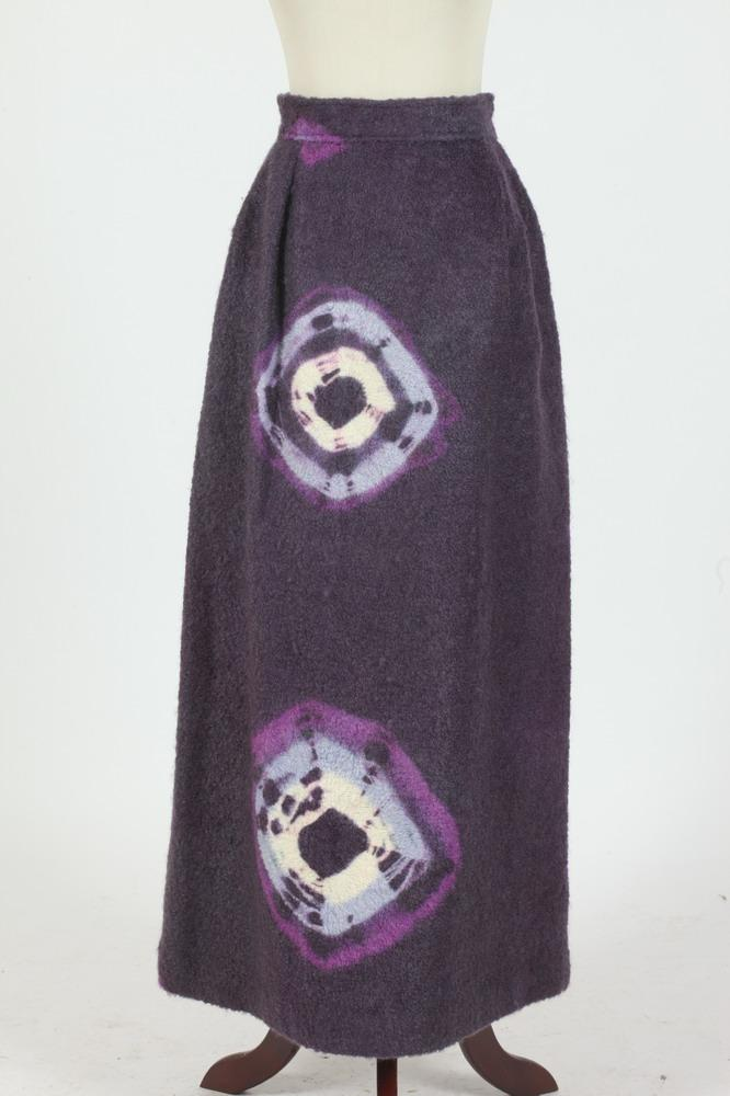 THREE VINTAGE SKIRTS : 1 PURPLE WOOL SKIRT, BURGUNDY SILK SKIRT WITH LAVENDER DETAIL; 1 BLACK AND WHITE SKIRT, size small.