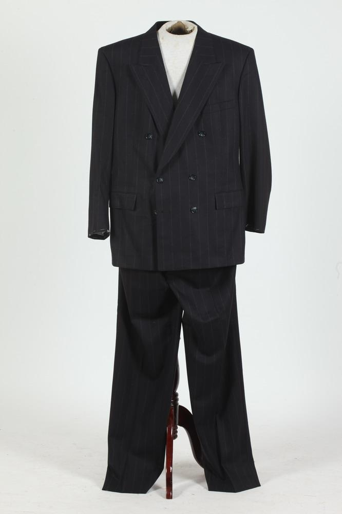MEN'S MIDNIGHT BLUE PINSTRIPED DOUBLE-BREASTED SUIT. (MISSING BUTTONS ON SLEEVE CUFFS), size 44.