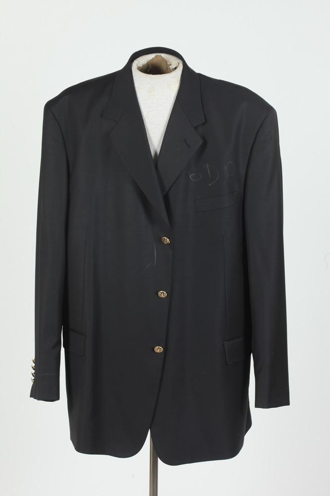 MEN'S BLACK WOOL BLAZER WITH GOLD-TONE BUTTONS, size 52.