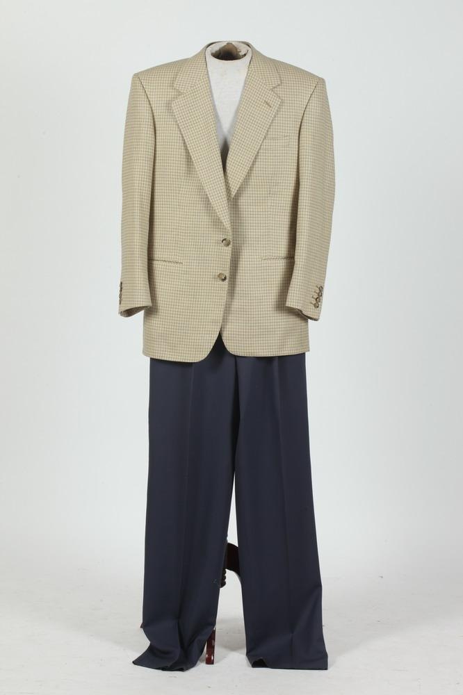MEN'S PALE YELLOW AND BLUE PLAID JACKET WITH NAVY BLUE PANTS, size 42.