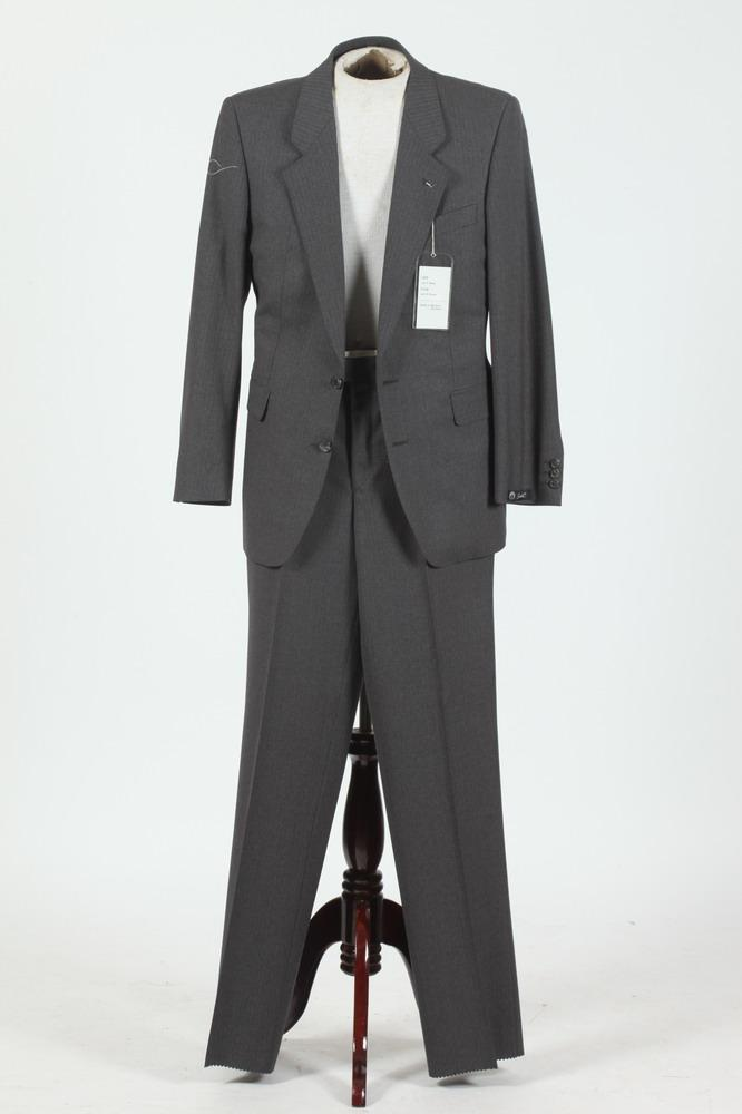 MEN'S GREY SUIT WITH RED PINSTRIPES, size 38 regular.
