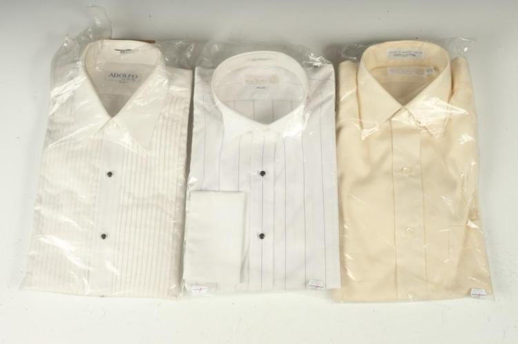 SELECTION OF MEN'S SHIRTS: TWO WHITE TUXEDO SHIRTS AND ONE IVORY COTTON, size 14 1/2.