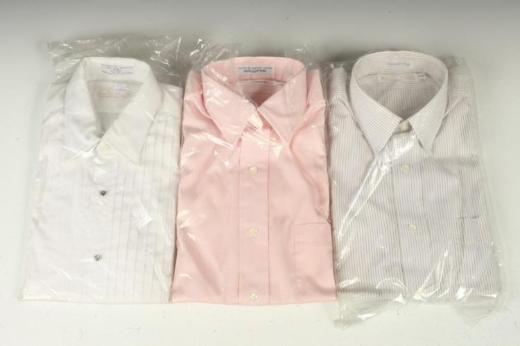 SELECTION OF MEN'S SHIRTS: WHITE TUXEDO SHIRT, PINK AND BLUE DRESS SHIRTS, size 15.