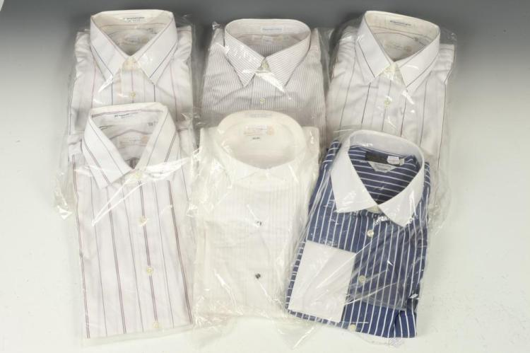 SELECTION OF MEN'S SHIRTS: WHITE TUXEDO SHIRT, 4 SHIRTS WITH STRIPES, 1 BLUE SHIRT WITH FRENCH CUFFS . size 15 1/2.