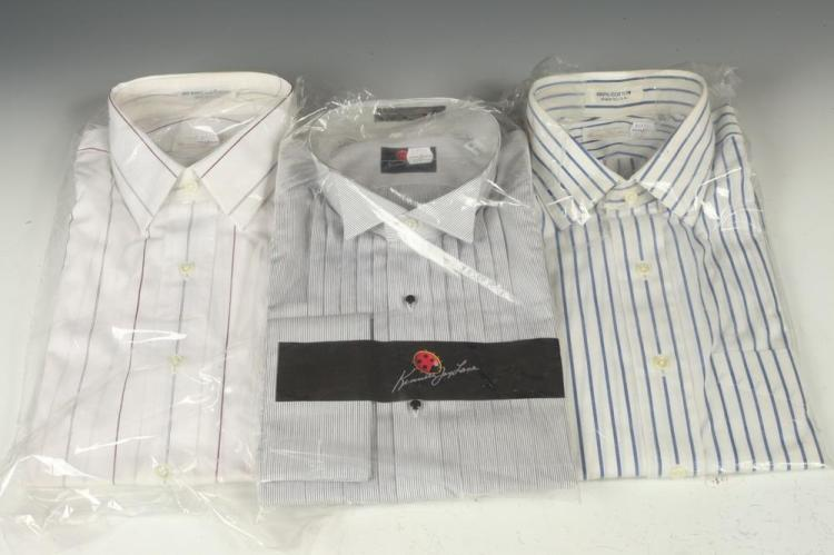 SELECTION OF MEN'S SHIRTS: NINE WHITE DRESS SHIRTS WITH STRIPES. size 16.