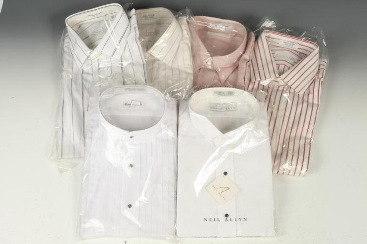 SELECTION OF MEN'S SHIRTS: FOUR DRESS SHIRTS AND TWO TUXEDO SHIRTS, size 16 1/2.