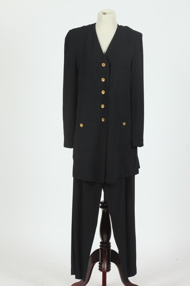 SONIA RYKIEL PARIS BLACK JACKET WITH TOLD-TONE BUTTONS AND MATCHING PANTS, size 44.