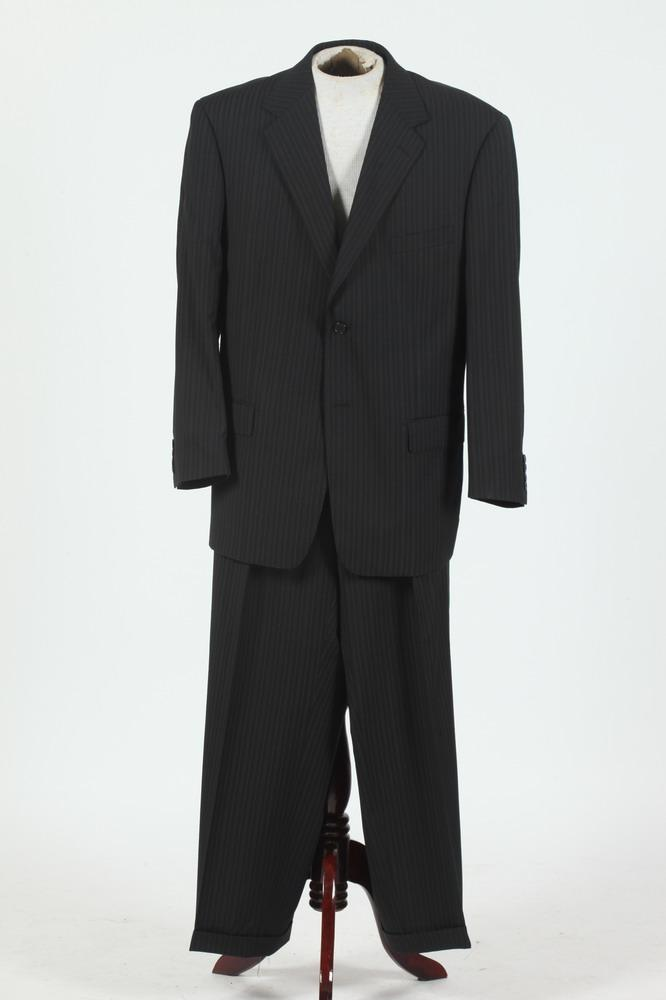 MEN'S BLACK WOOL SUIT WITH WHITE PINSTRIPES, size 46/48.