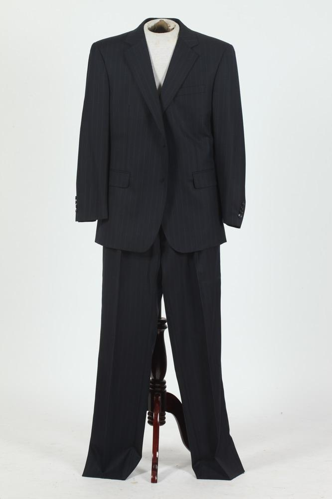 MEN'S BLACK WOOL SUIT WITH WHITE PINSTRIPES. size 42/.