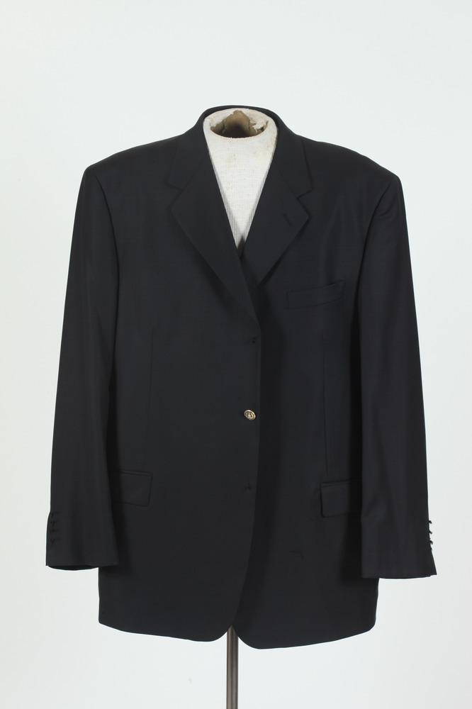 MEN'S NAVY BLUE JACKET WITH GOLD-TONE BUTTON (UNFINISHED), size 44.
