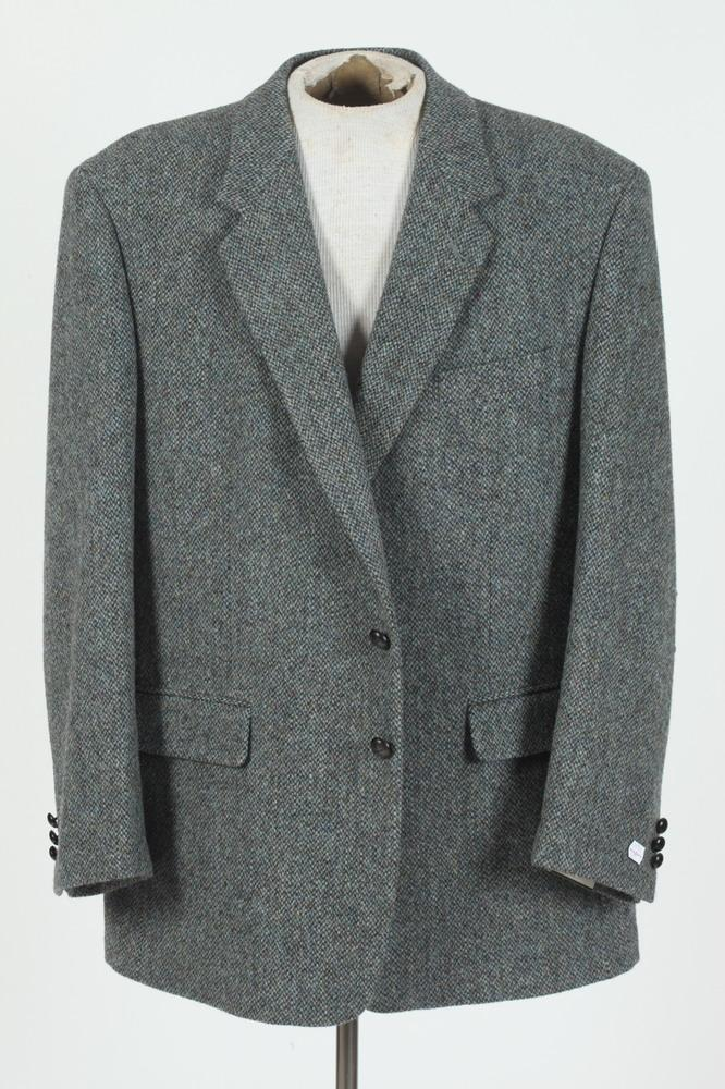 TWO MEN'S HARRIS TWEED JACKETS: ONE GREY, ONE TAN, size 46.