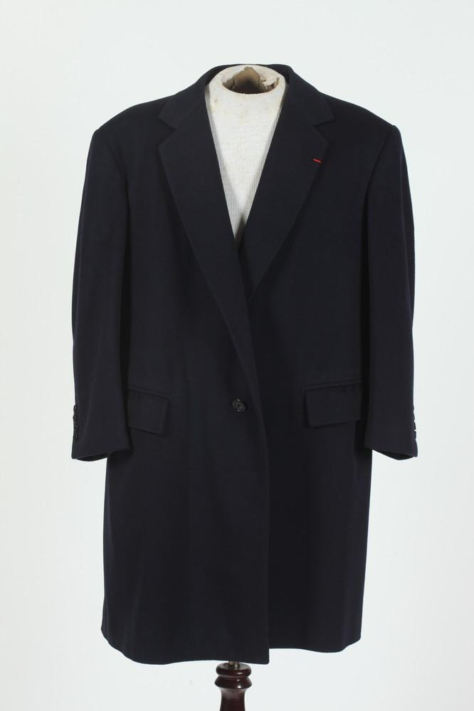 MEN'S NAVY BLUE WOOL 3/4 COAT, size large.