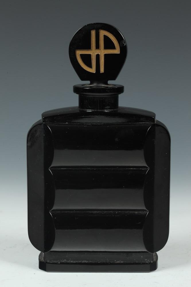 VINTAGE RARE BLACK JEAN PATOU CRYSTAL PERFUME BOTTLE WITH
