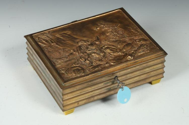 VINTAGE BRONZE JEWELRY BOX WITH LOCK AND KEY; 18TH-CENTURY THEME IN RELIEF ON TOP OF BOX;GOLD-TONE SATIN INTERIOR, - 8