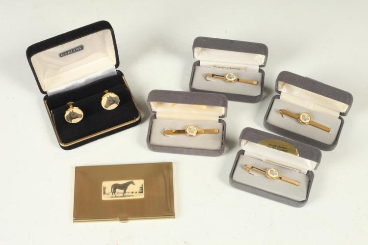 MEN'S ACCESSORIES: HORSE-THEMED CUFFLINKS, TIE CLIPS AND CARD CASE,
