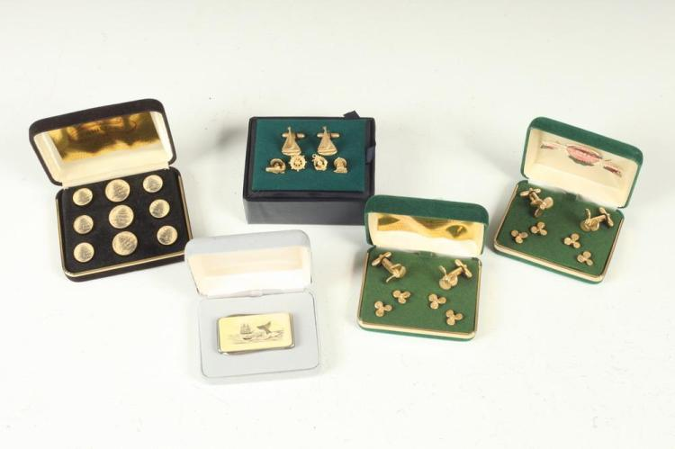 MEN'S ACCESSORIES: NAVAL-THEMED CUFFLINKS, BUTTON STUDS AND POCKET KNIFE .