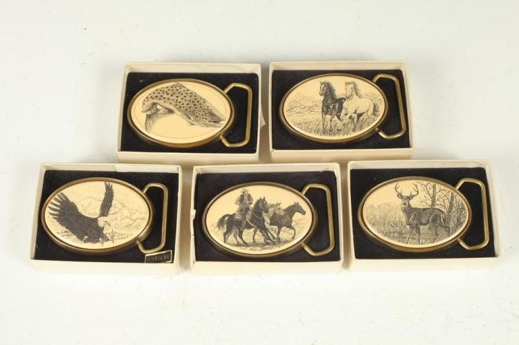 MEN'S ACCESSORIES: ANIMAL-THEMED BELT BUCKLES: FISH, EAGLE, HORSE AND DEER,